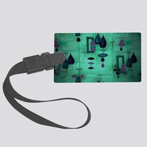 Atomic Age in Teal. Large Luggage Tag
