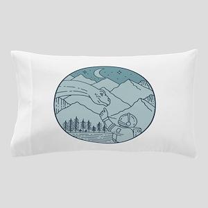 Astronaut Brontosaurus Moon Stars Mountains Circle