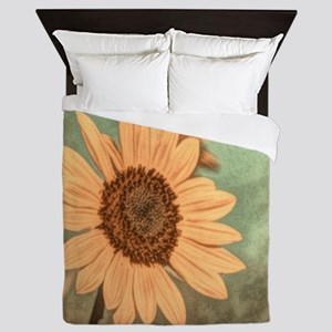 romantic summer watercolor sunflower Queen Duvet
