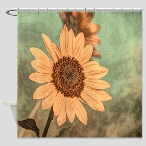 romantic summer watercolor sunflowe Shower Curtain