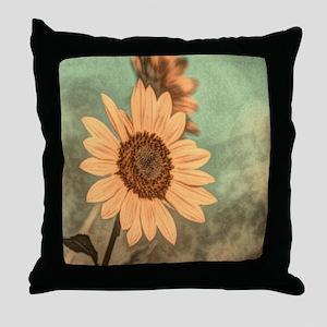 romantic summer watercolor sunflower Throw Pillow
