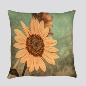 romantic summer watercolor sunflow Everyday Pillow