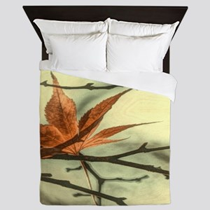 elegant autumn fall leaves Queen Duvet