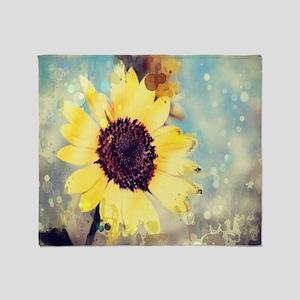 romantic summer watercolor sunflower Throw Blanket