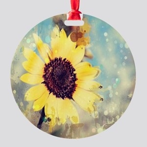 romantic summer watercolor sunflowe Round Ornament