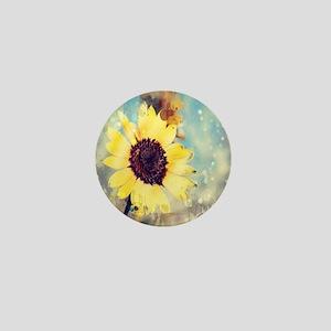 romantic summer watercolor sunflower Mini Button