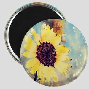 romantic summer watercolor sunflower Magnet