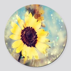 romantic summer watercolor sunflo Round Car Magnet