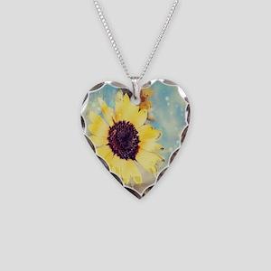 romantic summer watercolor su Necklace Heart Charm