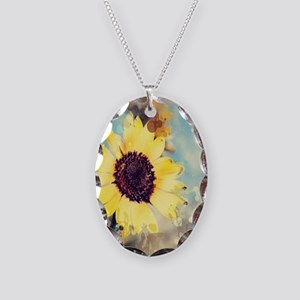 romantic summer watercolor sun Necklace Oval Charm