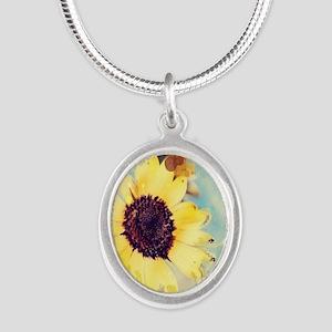 romantic summer watercolor su Silver Oval Necklace