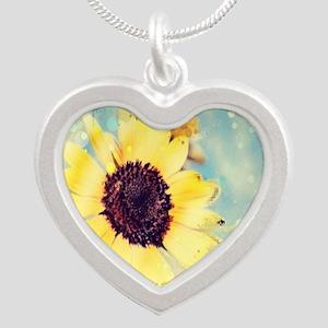 romantic summer watercolor s Silver Heart Necklace