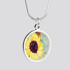 romantic summer watercolor s Silver Round Necklace