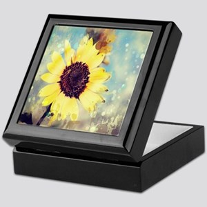 romantic summer watercolor sunflower Keepsake Box