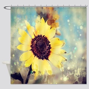 Romantic Summer Watercolor Sunflowe Shower Curtain