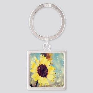 romantic summer watercolor sunflow Square Keychain