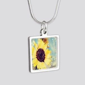 romantic summer watercolor Silver Square Necklace