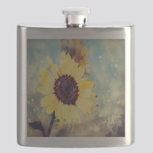 romantic summer watercolor sunflower Flask