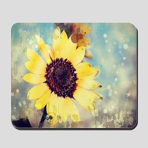 romantic summer watercolor sunflower Mousepad