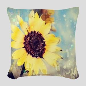 romantic summer watercolor sun Woven Throw Pillow