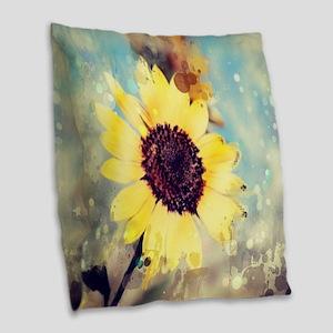 romantic summer watercolor sun Burlap Throw Pillow