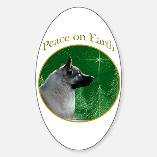 Elkhound Peace Oval Decal