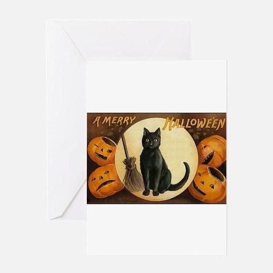 Black Halloween Cat Greeting Card