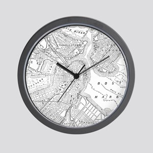 Vintage Map of Boston (1878) Wall Clock