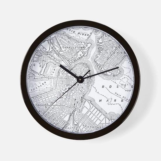 Vintage Map of Boston (1878) Wall Clock