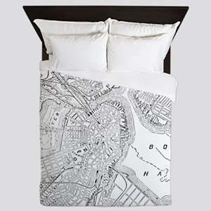 Vintage Map of Boston (1878) Queen Duvet
