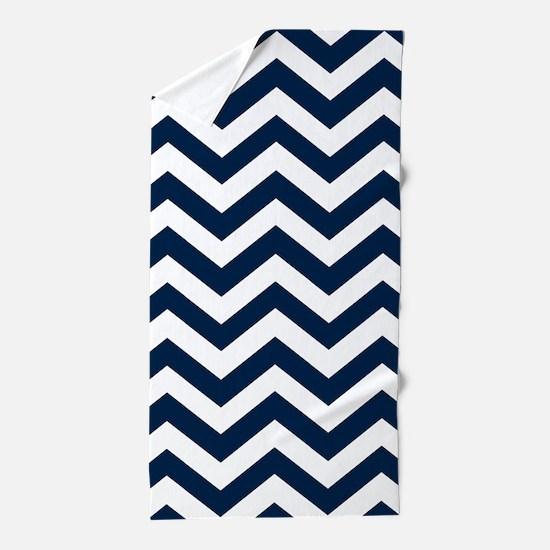 Blue, Navy: Chevron Pattern Beach Towel