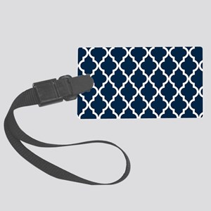 Blue, Navy: Quatrefoil Moroccan Large Luggage Tag