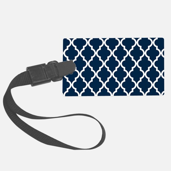 Blue, Navy: Quatrefoil Moroccan Luggage Tag