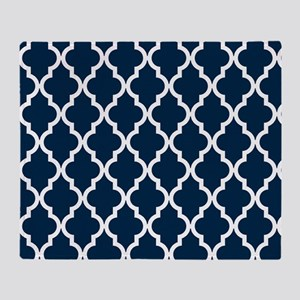 Blue, Navy: Quatrefoil Moroccan Patt Throw Blanket