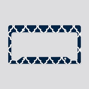 Blue, Navy: Quatrefoil Morocc License Plate Holder