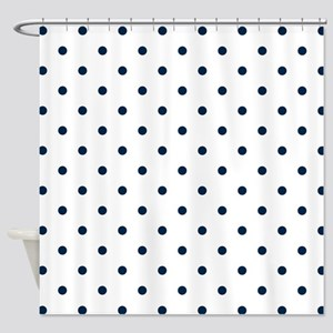 Blue, Navy: Polka Dots Pattern (Sma Shower Curtain