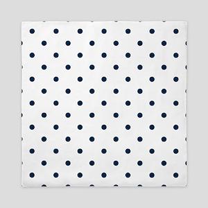 Blue, Navy: Polka Dots Pattern (Small) Queen Duvet