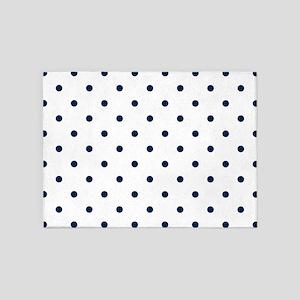 Blue, Navy: Polka Dots Pattern (Sma 5'x7'Area Rug