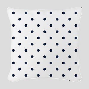 Blue, Navy: Polka Dots Pattern Woven Throw Pillow
