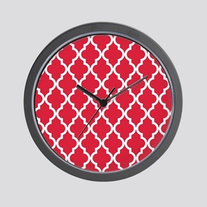 Red, Cherry: Quatrefoil Moroccan Patter Wall Clock