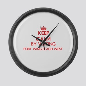 Keep calm by visiting Port Wing B Large Wall Clock