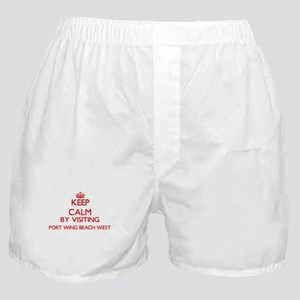 Keep calm by visiting Port Wing Beach Boxer Shorts