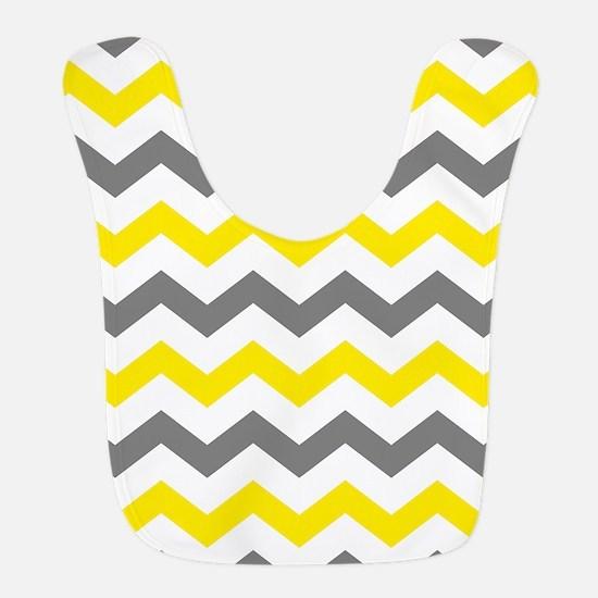 Yellow and Gray Chevron Pattern Bib