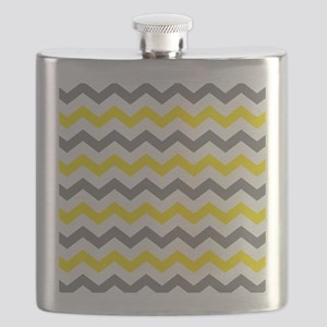 Yellow and Gray Chevron Pattern Flask