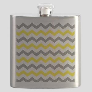 Yellow and Gray Chevron Pattern Flask