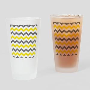 Yellow and Gray Chevron Pattern Drinking Glass