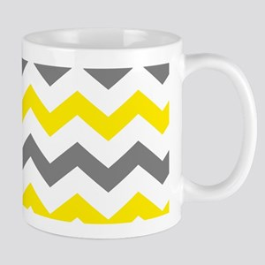 Yellow and Gray Chevron Pattern Mugs