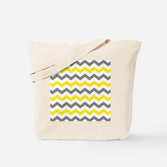 Yellow and Gray Chevron Pattern Tote Bag