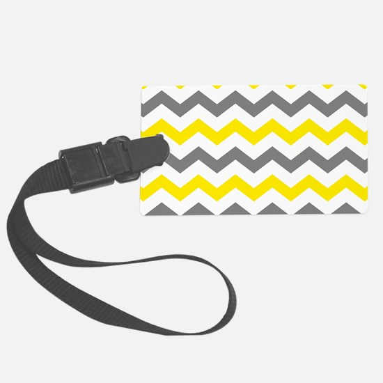 Yellow and Gray Chevron Pattern Luggage Tag