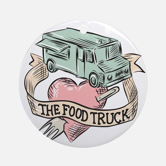 Food Truck Heart Fork Etching Ornament (Round)